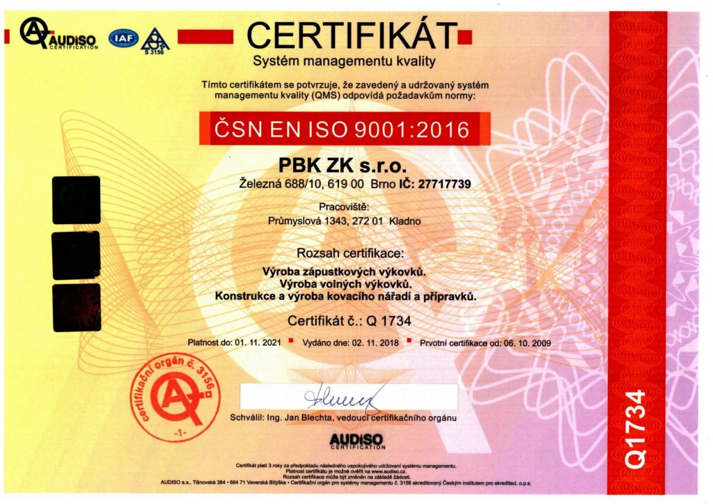Certifikat ISO 9001 CZ 2018-21