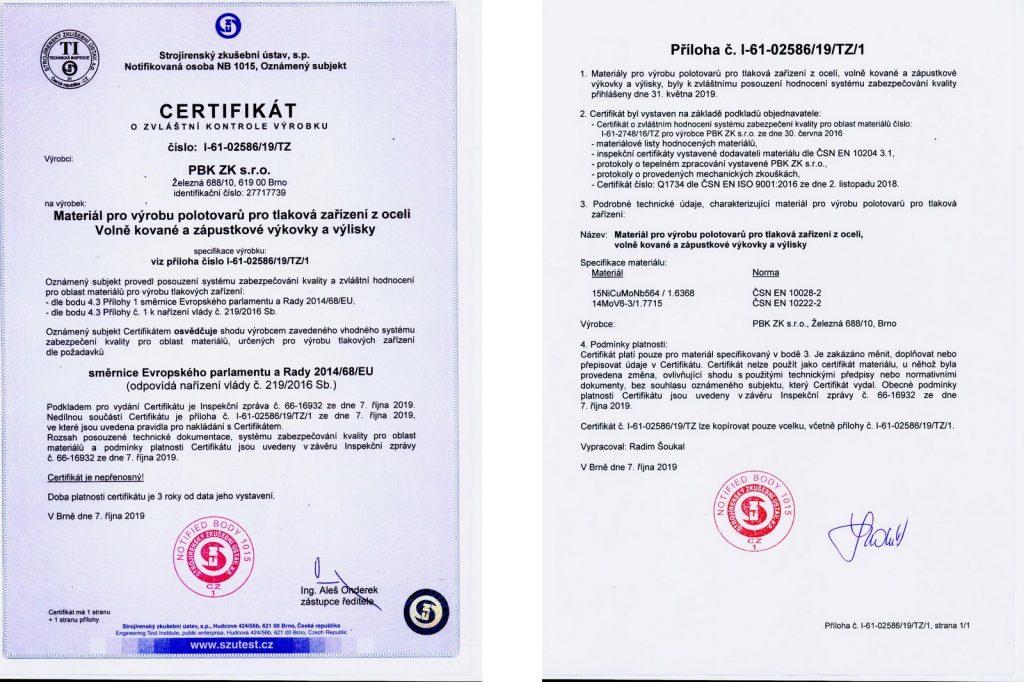 Certifikat PED 2019-22