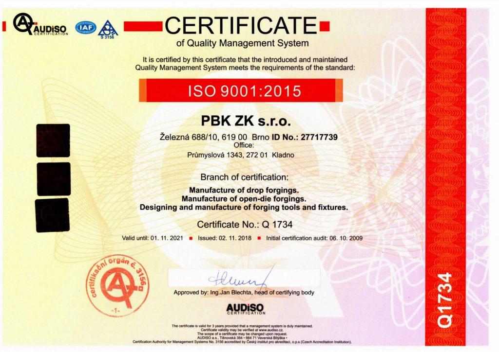 Certificate ISO 9001 EN 2018-21